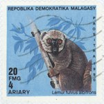 Lemur fulvis albifrons: 20-Franc (4-Ariary) Postage Stamp