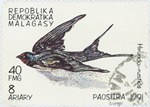 Hirundo rustica: 40-Franc (8-Ariary) Postage Stamp