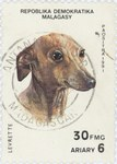 Front: Greyhound: 30-Franc (6-Ariary) Post...