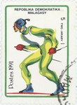 Cross-Country Skiing, Winter Olympics: 5-Franc (1-Ariary) Postage Stamp