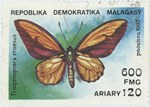 Trogonoptera croesus: 600-Franc (120-Ariary) Postage Stamp