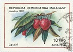 Front: Litchis: 10-Franc (2-Ariary) Postag...