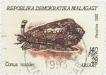 Conus textile: 140-Franc (28-Ariary) Postage Stamp