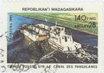 Pangalanes Canal Tug Convoy: 140-Franc (28-Ariary) Postage Stamp