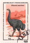 Prehistoric Animals: Dinornis maximus: 35-Franc (7-Ariary) Postage Stamp
