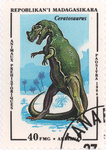 Prehistoric Animals: Ceratosaurus: 40-Franc (8-Ariary) Postage Stamp