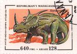 Prehistoric Animals: Styracosaurus: 640-Franc (128-Ariary) Postage Stamp