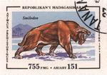 Prehistoric Animals: Smilodon: 755-Franc (151-Ariary) Postage Stamp