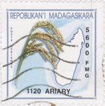Rice and Madagascar: 5,600-Franc (1,120-Ariary) Postage Stamp