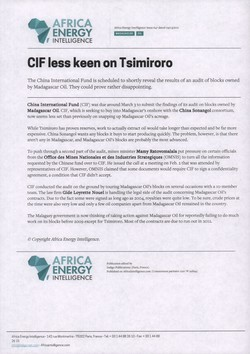 CIF less keen on Tsimiroro: Article from Africa Energy Intelligence, Issue 647, 9 March 2011
