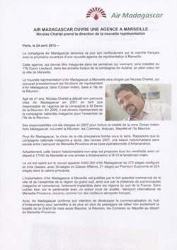 Air Madagascar ouvre une agence à Marseille: Air Madagascar Press Release, 24 April 2013