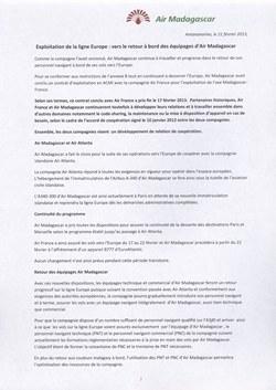 Exploitation de la ligne Europe : vers le retour à bord des équipages d'Air Madagascar: Air Madagascar Press Release, 21 February 2013