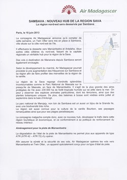 Sambava : nouveau hub de la région SAVA: Air Madagascar Press Release, 10 June 2013