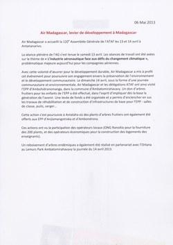 Air Madagascar, levier de développement ? Madagascar: Air Madagascar Press Release, 6 May 2013