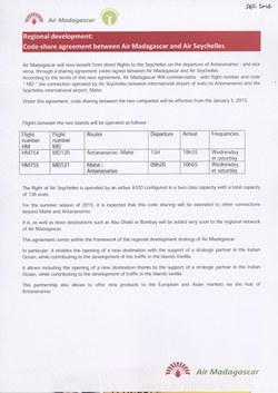 Regional development: Code-share agreement between Air Madagascar and Air Seychelles: Air Madagascar Press Release, December 2014