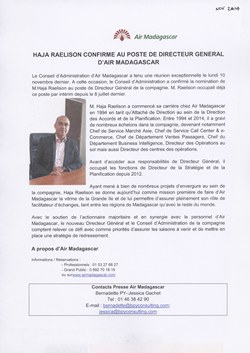 Haja Raelison confirme au poste de Directeur Général d'Air Madagascar: Air Madagascar Press Release, November 2014