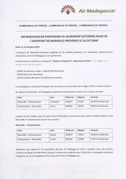 Air Madagascar partenaire du workshop automne-hiver de l'Aéroport de Marseille-Provence le 16 octobre: Air Madagascar Press Release, 13 October 2014