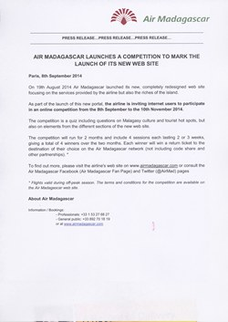 Air Madagascar launches a competition to mark the launch of its new web site: Air Madagascar Press Release, 8 September 2014
