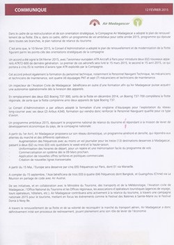 Air Madagascar: Communique de Presse: Air Madagascar Press Release, 12 February 2015