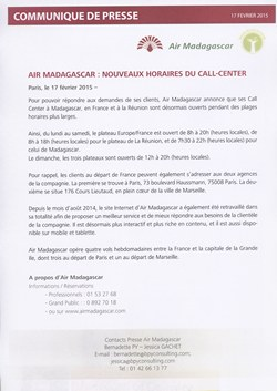 Air Madagascar : nouveaux horaires du call-center: Air Madagascar Press Release, 17 February 2015