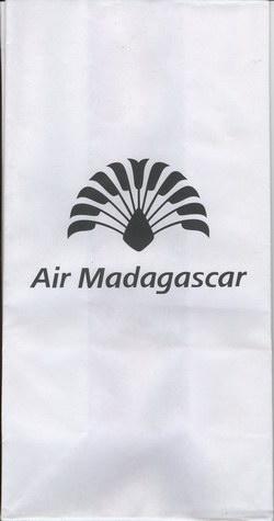 Air Madagascar Airsickness Bag: Black Travelers' Palm Logo