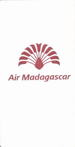 Air Madagascar Airsickness Bag: Red Travelers' Palm Logo