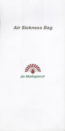 Air Madagascar Airsickness Bag: Small Red & Green Logo, with Title at Top