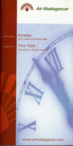 Air Madagascar: Horaires / Time Table: du 01 Juillet au 29 Octobre 2005 / from July 01 to October 29, 2005