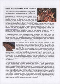 Annual report from Akany Avoko 2006-2007