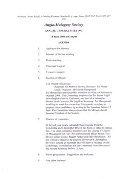 Anglo-Malagasy Society: Annual General Meeting 18 June 2008 at 6:30pm: Agenda