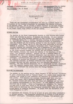 Anglo-Malagasy Society Newsletter: No. 1 (March 1977)