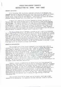 Anglo-Malagasy Society Newsletter: No. 27 (May 1992)