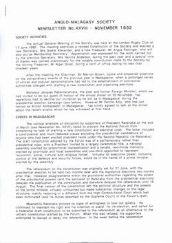 Anglo-Malagasy Society Newsletter: No. 28 (November 1992)