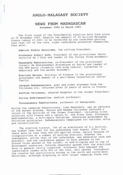 Anglo-Malagasy Society Newsletter: No. 28A (March 1993)