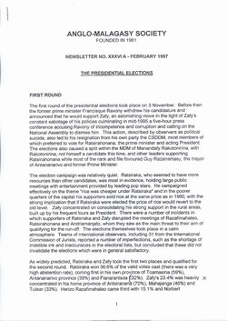 Anglo-Malagasy Society Newsletter: No. 36A (February 1997)