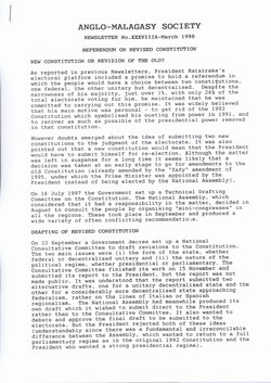 Anglo-Malagasy Society Newsletter: No. 38A (March 1998)