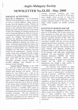 Anglo-Malagasy Society Newsletter: No. 43 (May 2000)