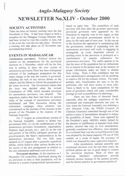 Anglo-Malagasy Society Newsletter: No. 44 (October 2000)