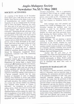 Anglo-Malagasy Society Newsletter: No. 45 (May 2001)