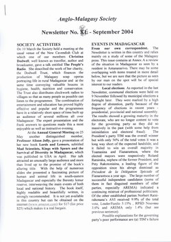 Anglo-Malagasy Society Newsletter: No. 50 (September 2004)