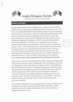 Anglo-Malagasy Society Newsletter: No. 53 (November 2006)