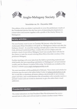 Anglo-Malagasy Society Newsletter: No. 54 (December 2006)