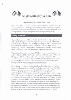 Anglo-Malagasy Society Newsletter: No. 55 (February 2007)