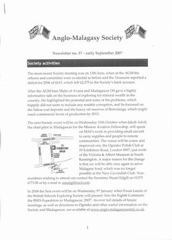 Anglo-Malagasy Society Newsletter: No. 57 (September 2007)