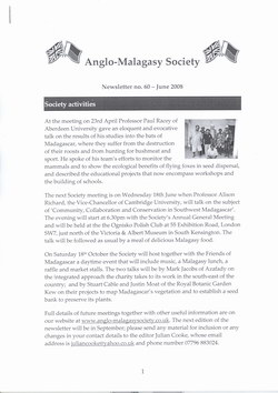 Anglo-Malagasy Society Newsletter: No. 60 (June 2008)