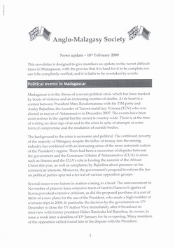 Anglo-Malagasy Society Newsletter: No. 62A: News Update (10th February 2009)