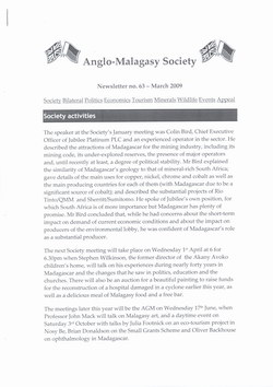 Anglo-Malagasy Society Newsletter: No. 63 (March 2009)