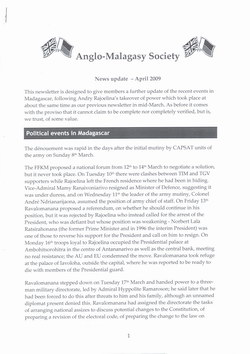Anglo-Malagasy Society Newsletter: No. 63A: News Update (April 2009)