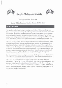 Anglo-Malagasy Society Newsletter: No. 64 (June 2009)