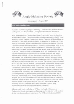 Anglo-Malagasy Society Newsletter: No. 64A: News Update (August 2009)